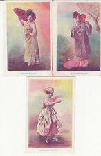 Lot 3 cartes postales anciennes FANTAISIES éventail espagnol japonais
