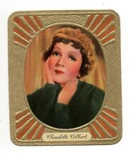 Claudette Colbert 1936 Garbaty Passion Film Star Embossed Cigarette Card #53