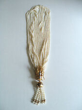 """RARE 9-STRAND 26"""" WHITE PEARL NECKLACE with 14K MULTI JEWELED DRAGON PENDANT"""
