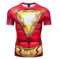 Mens 3D Printed T-shirts Shazam Superhero Sports Tights Short Sleeve Red Gym Tee