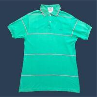 Mens Vintage Izod Lacoste Polo Shirt Medium Green Striped Short Sleeve