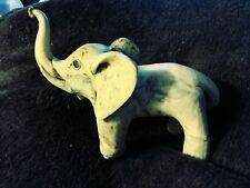Vintage Carved Elephant Raised Trunk & Tusk Exotic Wood Bone Mottled Color