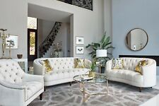 CURVY WHITE VELVET RHINESTONE TUFTED SOFA LOVESEAT LIVING ROOM FURNITURE SALE