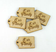5x Wooden MDF Family Tree Label Tag Engraved Our Family Luggage Tags
