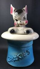 Vintage 1950's American Bisque Bunny Rabbit In Blue Magic Hat Cookie Jar 14V
