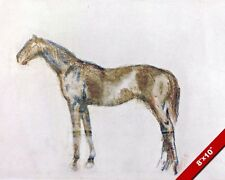 BROWN HORSE CHALK & PASTEL PAINTING BY EDGAR DEGAS ART REAL CANVAS GICLEE PRINT