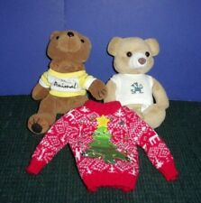 """2 Cute Little 8"""" Collectible Brown Plush Bean Bag Teddy Bears - Ugly Sweater"""