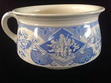 Antique RARE Blue & White Transferware Chamber Pot Brownfield & Sons SADO c.1881
