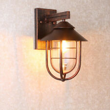 Industrial Loft Antique Copper Metal Cage Clear Glass Shade Nautical Wall Light