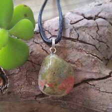 UNAKITE Crystal Gemstone PSYCHIC VISIONS 3rd EYE Tumbled Stone Pendant Necklace