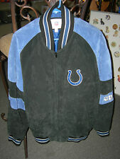 INDIANAPOLIS COLTS EMBROIDERED SUEDE JACKET / SIZE XL