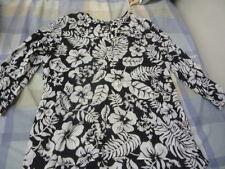 ralph lauren 100% cotton black white flower light shirt top size medium