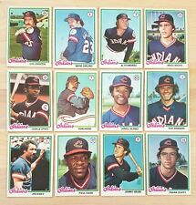 1978 Topps Baseball Lot of 12 Different CLEVELAND INDIANS Cards