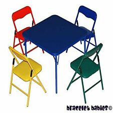 Children's Folding Table & Folding Chairs Furniture 4 Pieces Multicolor For Kid