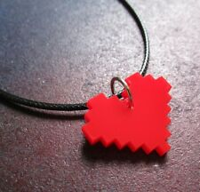8 Bit Pixel Life Heart Necklace Red Acrylic Video Game Girl Gamer Minecraft