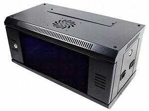 "4U 19"" Black Network Cabinet Data Comms Wall Rack, Patch Panel, Switch, PDU LAN."
