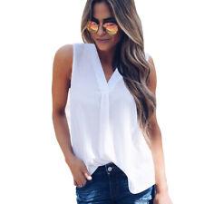 Summer Womens Sleeveless T Shirt Chiffon Shirt Casual Loose Tank Top Blouse