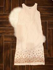 Hot Cotton Medium Maxi Dress Lagenlook Long Sleeveless Pink Floral Linen Roses