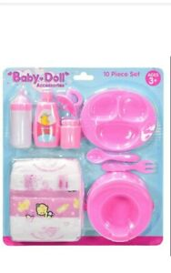 10Pc Baby Doll Accessories Play Set Nappy Milk Bottle Dummy Pretend Play Toy