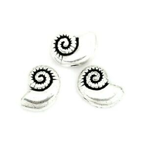 10 Tibetan Antiqued Silver 11x8mm Spiral Nautilus Conch Shell Spacer Beads