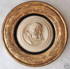 Christ bas-relief, moulage de poudre de marbre, cadre rond doré fin XIX