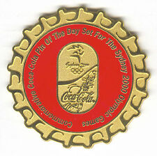 2000 SYDNEY OLYMPIC COCA COLA PIN OF THE DAY GOLD PIN SET BOTTLE CAP