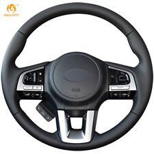 Black Leather Steering Wheel Cover Wrap for Subaru Legacy Outback Forester XV
