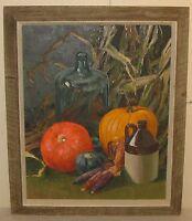 Vintage KEN GORE 'Harvest Still Life' Oil Painting - PUMPKINS Squash CORN & JUG