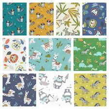 New Children 100% Cotton Fabric Animal Zebra Llama Lion Hippo Dinosaur 150cm