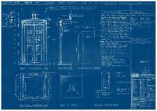 Doctor Who TARDIS Blueprint Prop Poster - FREE UK POSTAGE