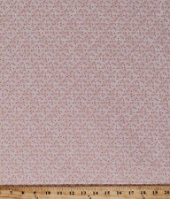 Quest for a Cure Cancer Tiny Pink Ribbons Cream Cotton Fabric Print BTY D576.04