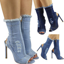 Womens Ladies High Ankle Cutout Mid Calf Denim Peeptoe Stiletto Heel Boots Size
