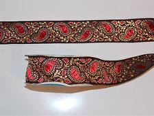 4cm Rosso Oro Paisley Crystal Nastro Ricamato Applique rifilatura Arredamento Indiano