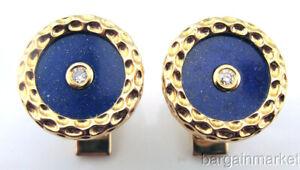 Genuine 14K Gold Diamond Lapis Lazuli Round Cufflinks