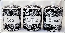 Florence Tea Coffee Sugar Canisters Black Bone China Jars Set Hand Decorated UK