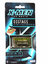 NEW X-MEN~ CYCLOPS ~ DOG TAGS AUTHENTIC COLLECTIBLE MARVEL 2000, NICKEL PLATED