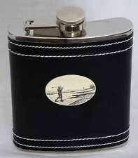 Flask-Stainless Steel-Engraved Golf Theme-Black Leather