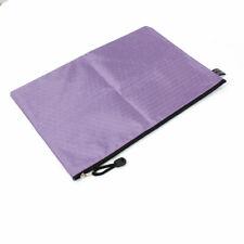 Stationery Zipper Closure Nylon A4 Paper Files Document Holder Bag Purple