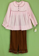 284 NWT Petit Ami girl 2 pc SET long sleeve top shirt brown pants outfit NEW 6