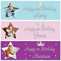 2 Personalised Birthday Banner Photo Stars Children Baby Kids Party Poster Deco