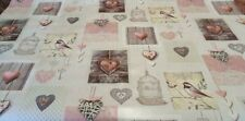 VINTAGE PLAIN PINK GREY HEARTS BIRDCAGE SWEET LOVE PVC PLASTIC VINYL TABLE CLOTH