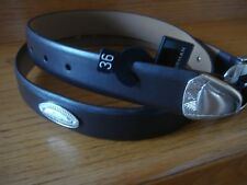 Men's Greg Norman Dark Brown Smooth Pattern Shark Logo Conchos Belt Size 36 New