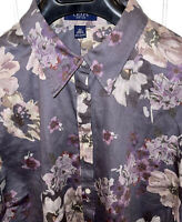 Womens Ralph Lauren CHAPS No Iron Gray Purple Blouse Button Down Top Plus 2X