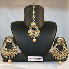 Gold & Pearl Earrings & Tikka Set, Bollywood Style, party,prom DH17-132G/LCT