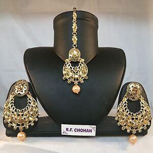 Gold pearl tikka earrings set indian bridal pakistani kundan mehndi party prom