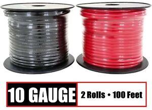 10 Gauge Primary Wire Red & Black - 2 Rolls - 100 Feet Each Copper Clad Aluminum