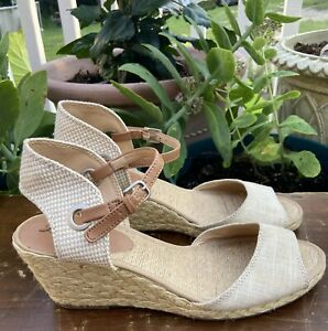 Lucky Brand Beige Kyndra Wedge Heel Peep Toe Sandals Size 10M
