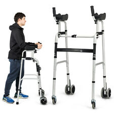 Foldable Standard Walker Aluminum Alloy Walking Frame w/ Armrest Pad & Wheels