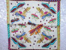 New 100% Charmeuse Silk Scarf Bandana Butterfly Ivory