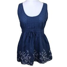Philip Russel Blue Embroided Stretch Waist Top